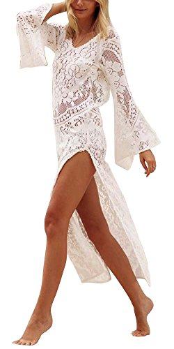 Mujer Largo Vestido de Playa Maxi Irregular Vestido de Encaje Blanco XL