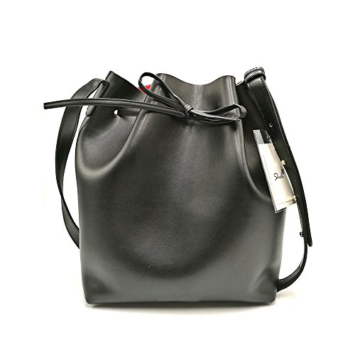 Sheli Female Popular Saffiano Adjustable Strap Stylish Wearable Leather Drawstring Bucket Bag with Detachable Pouch Wallet (Leder Hobo Cabrio Bag)