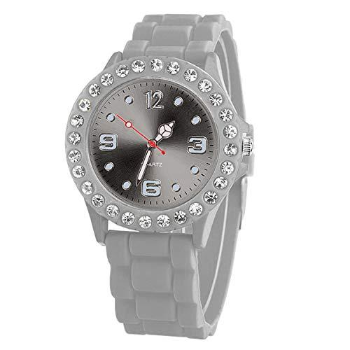 Taffstyle Damen-Armbanduhr Sport Analog Quarz mit Silikonarmband Strass Kristallen Silikon Uhr Grau -