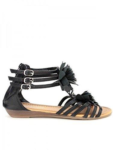 Cendriyon, Sandale Noire OMODA Chaussures Femme Noir