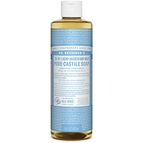 Dr. Bronners 18-in-1 Hemp Un-Scented Baby Mild Pure-Castile Liquid Soap, 16-Ounce Bottle (japan import)