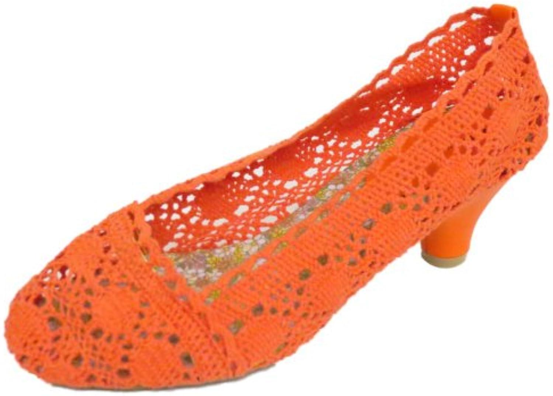 Generic Damen orange Häkel Absatz Ballerina Sommer zum reinschlüpfen Damen Pumps