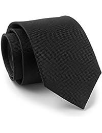 Savile Row Men's Black Birdseye Textured Skinny Silk Tie