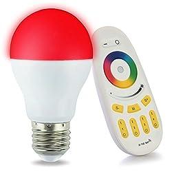 LIGHTEU 1x WLAN LED Lampe original, 6 W, E27, dimmbar, Farbwechsel Glühbirne mit 4 zonen Fernbedienung, warmweiß LT-6W-RGB-1-F