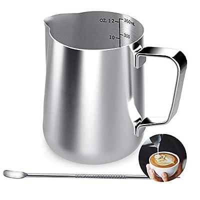 Stainless Steel Milk Jug, 350ML Coffee Creamer Milk Frothing Pitcher Jug Cup
