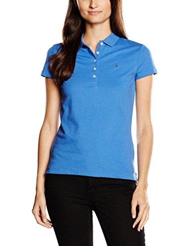 Tommy Hilfiger Damen Poloshirt New Chiara STR PQ Polo SS, Blau (Bright Cobalt 381), 42 (Herstellergröße: XL)
