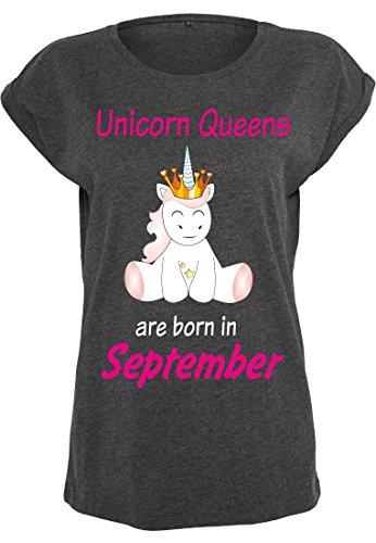 Damen Ladies Extended Shoulder Tee T-Shirt Sommershirt Damenshirt Einhorn Unicorn Queens are born (charcoal) September