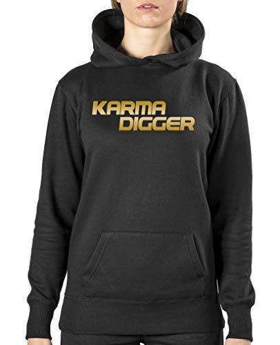 Comedy Shirts - Karma Digger - Damen Hoodie - Schwarz/Gold Gr. M Damen Gold Digger