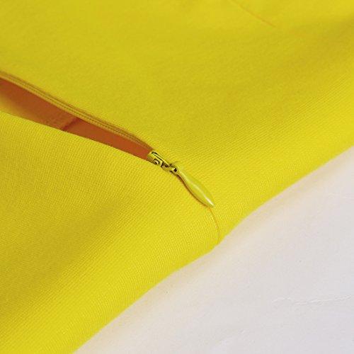HOMEYEE Damen Ohne Arm Asymmetrische V-Ausschnitt Belted Enges Kleid B290 Gelb