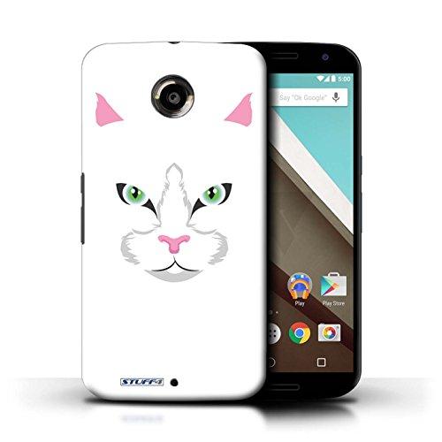 Kobalt® Imprimé Etui / Coque pour Motorola Nexus 6 / Chien/Bulldog conception / Série Museaux Chat blanc