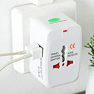 Ultima Cords & Cables Universal Travel Adapter with Built in Dual USB Ports (White)