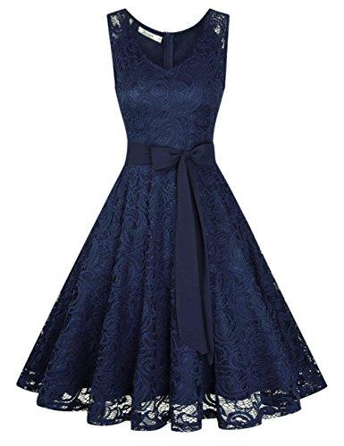 KOJOOIN Damen Kleid Brautjungfernkleid Knielang Spitzenkleid Ärmellos Cocktailkleid Dunkelblau Navyblau S