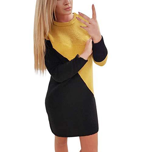 frauen motorradkombi Damen Kleider, VEMOW Frauen Solid O-Neck Long Pullover Casual Langarm Kleid(X1-b-Schwarz, 34/M