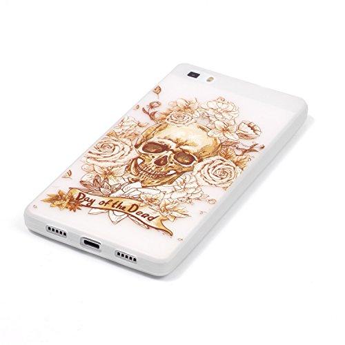 Coque pour iPhone 6 Plus, iPhone 6 Plus Silicone Coque Transparent Etui Housse, iPhone 6s Plus Coque en Silicone Souple Housse, iPhone 6 Plus Soft Case Clear Cover, Ukayfe Etui de Protection Cas en ca Noctilucent-Skull Rose