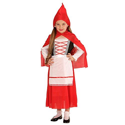 Widmann 72994 - Kinderkostüm Mäntelchen, Kleid Unterrock, Schürze, Umhang mit Kapuze, rot, Größe ()