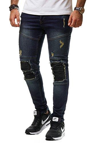 Uniplay Herren Jeans Hose Denim Slim Fit Zerrissen Gerippt Verwaschen Schwarz UP22, Farbe:Blau, Hosengröße:W30