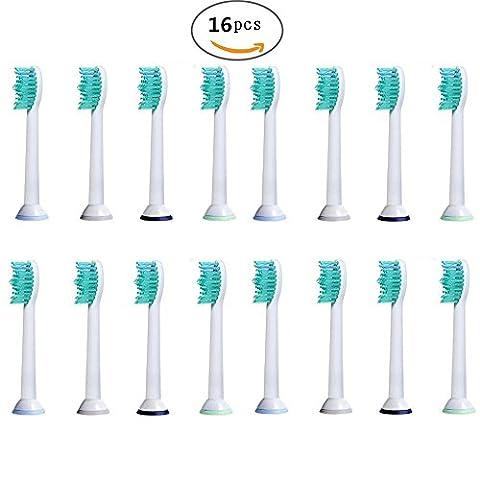 U-Prime® Ersatz Aufsteckbürsten,kompatibel mit Philips Sonicare ProResults HX6014 Aufsteckbürsten Standard(für elektrische Zahnbürsten),16 Stück(