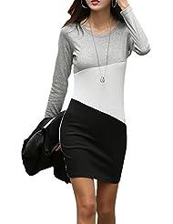 Colour Block Patchwork Casual Fleece Lined Warm Mini Corta Corto T-Shirt Camiseta Básica Verano Vestido