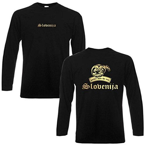 Longsleeve Slovenien SLOVENIJA harder than the rest langarm T-Shirt Herren Länder Fan Shirt cooles Langarmshirt Übergrößen bis 6XL (WMS08-59b) Mehrfarbig