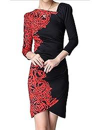 Half Floral Print Slim Party Dress - Red