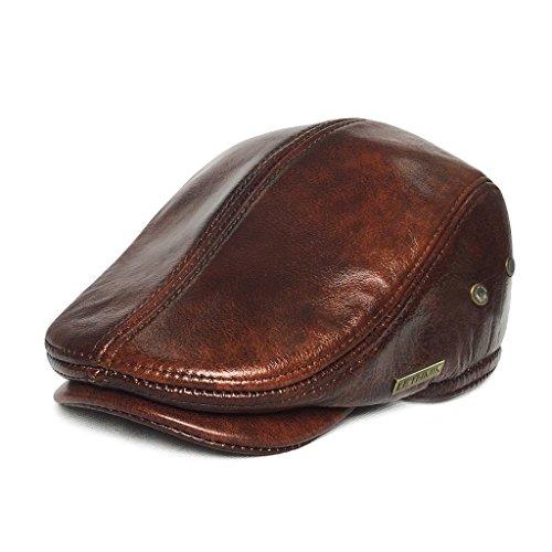 Lethmik cappello da uomo con visiera e cupola piatta, modello: coppola, materiale: pelle di vacchetta, Yellow Brown, XX-Large (7 1/2-7 5/8) 60 - 61 CM