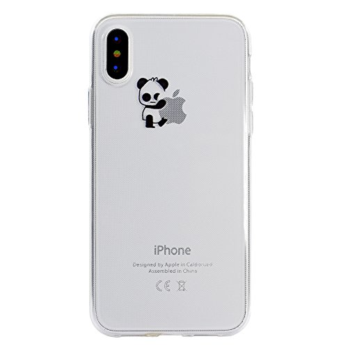 Sycode Custodia per iPhone X,Cover per iPhone X,Silicone Trasparente Case per iPhone X,Liquido Cristallo Chiaro Carina Divertente Motivo Cartone Rosa Fenicotteri Cuore Morbida Flessibile Silicone Gel Sinistra Panda