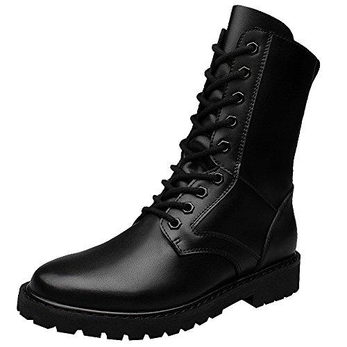 Jamron Hombres Minimalista Negro Cuero Sintético Mitad de la Pantorrilla Botas Plano Antideslizante Botas Militares de Combate SN01703 EU43