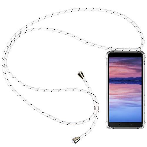 CLM-Tech Carcasa con Cuerda para Colgar Compatible con Xiaomi Redmi 6A - Funda Silicona Transparente con Cordon para Llevar en el Cuello, Blanco Gris