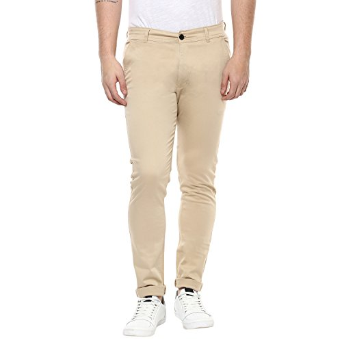 Routeen Beige 100% Cotton Lycra Casual Slim Fit stretchable Chinos Trousers pants for Men