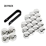 Picture Of Littleduckling 20pcs 17mm Universal Wheel Bolt Nut Hex Tyre Cap Covers Silver 16 Standard Ones + 4 Locking Ones Removal Tool