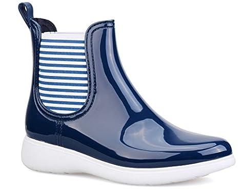 MaxMuxun Chaussures Femme Botte de Pluie En Caoutchouc Cheville Élastique EU 40 Motif Bleu