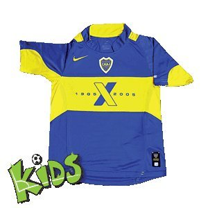 Nike Junior Boca Juniors Centenary 2005 Home Junior Trikot, Blau, Größe S