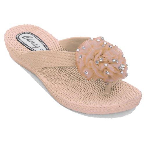 Sapphire Damen Flip Flop Sandalen Komfort Corsage Niedriger Absatz Strass Blume Pfirsich