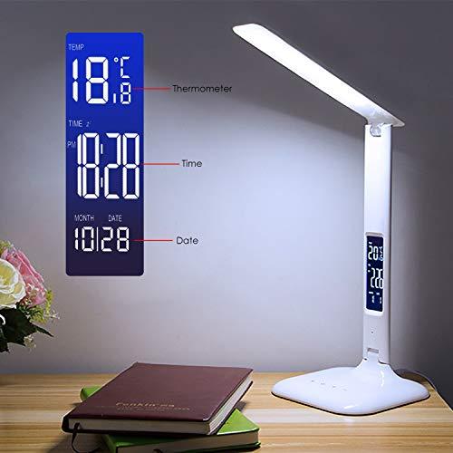 Wilktop LED Schreibtischlampe, Dimmbare LED Tischlampe mit Dreifarbige (kalt/warm/neutralweiß) und 5 Helligkeitsstufen LCD Display Multifunktional Temperatur, Alarm und Kalenderfunktion
