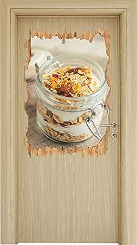 Joghurt Müsli im Glas Holzdurchbruch im 3D-Look , Wand- oder Türaufkleber Format: 92x62cm, Wandsticker, Wandtattoo, Wanddekoration