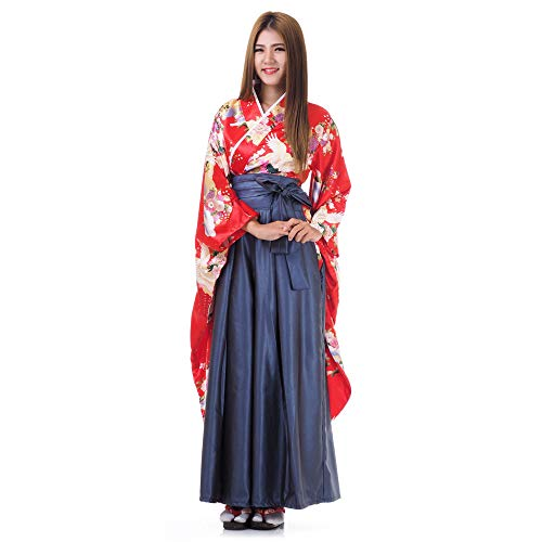 Princess of Asia Japan Damen Geisha Samurai Kimono Outfit Kostüm S M 36 38 40 (Rot & Blaugrau)