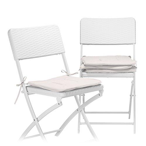 Relaxdays Stuhlkissen 4er Set, Sitzkissen mit Schleife, Auflage für Stühle in Haus und Garten, waschbar, Stuhlauflage aus Polyester, Taupe