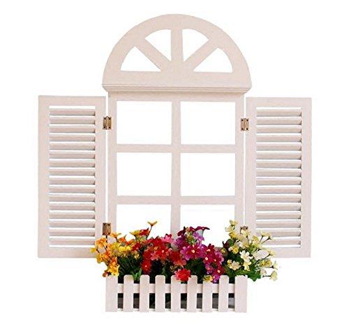 qyl arredamento per la casa finestra in stile europeo legno persiane da giardino arazzi,white,xl
