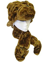 Adults Kids Unisex 3 in 1 Furry Animal Face Trapper Hat Scarf Mitt Combo Pocket (BULLDOG)
