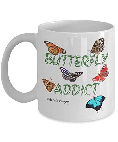 Butterfly-lady-print-tee (Butterfly Coffee Cups for Women - Butterfly Addict - 11 oz White Ceramic Tea Mug - Azcatie Designs)