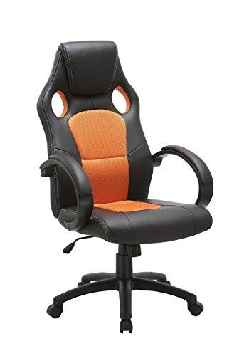 Duhome Elegant Lifestyle Bürostuhl/Chefsessel Schwarz-Orange Wippfunktion, ergonomisch, Kunstleder und Netzbezug Mix, Kopfstütze Typ 5013X