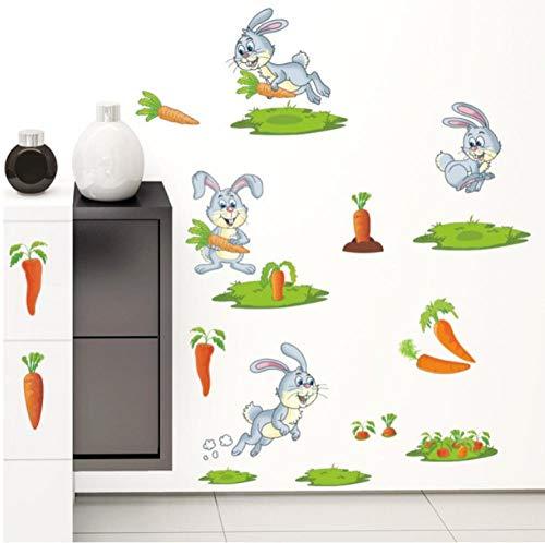Abnehmbare Nette Glückliche Kaninchen Essen Karotten Wandaufkleber Für Kinderzimmer Tier Gedruckt Kindergarten Wohnkultur Zubehör Aufkleber Poster -