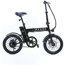 Revoe, bicicletta pieghevole elettrica Lite ruote 16 pollici, nero