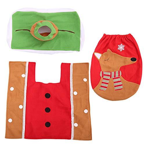 Hehh Tuoba Fish Weihnachts-Elch-WC-Set, dreiteilige Badezimmerdekoration, Toilettendeckelstickerei-Elchszenenkleid, Tissue-Box - Elch Wc