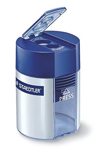 Staedtler 512 001 Doppelspitzer (für Bleistifte und Buntstifte, Anspitzer mit Behälter) -