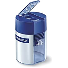 Staedtler 512 001 Doppelspitzer (für Bleistifte und Buntstifte, Anspitzer mit Behälter)