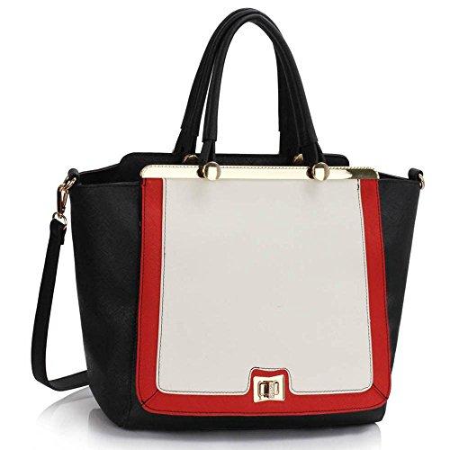 TrendStar Damen Designer Faux Leder Promi Stil Tragetaschen Schulterbeutel Handtaschen (A - Schwarz/Weiß/Rot) (Croc Faux Handtasche)