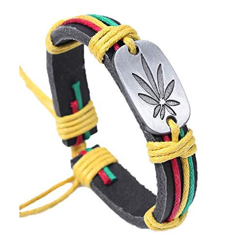 Art Attack Weed 420Marijuana Pot Leaf Rastafari Jamaika Hip Hop Rap verstellbar Armband Pot Leaf