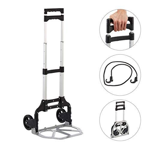 Relaxdays Sackkarre klappbar, Transportkarre bis 70 kg, PU Räder, höhenverstellbar, für Treppen, zum Einkaufen, Silber