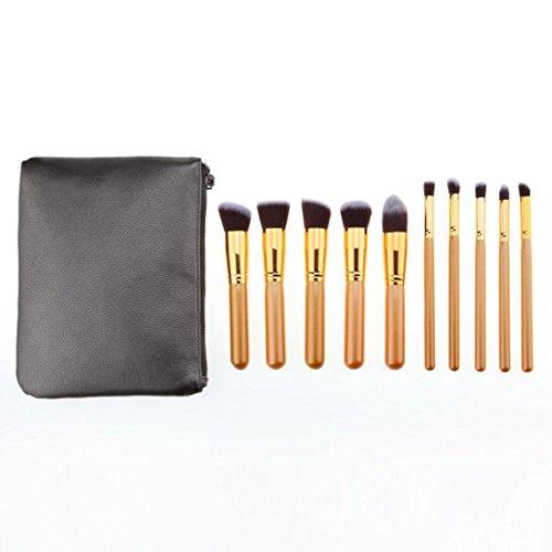 Fami Donne 8pcs Set pennelli trucco professionale + 1PC Make Up Bag (ORO)